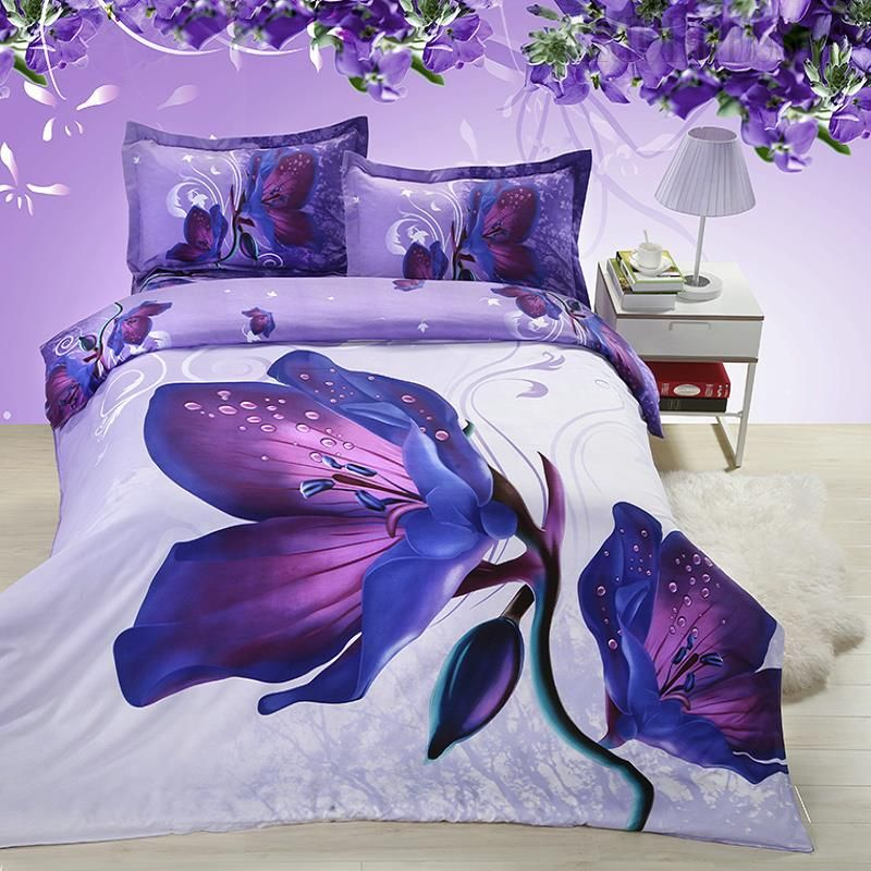 Mysterious Purple Flowers 3d Bedding Sets Bedding Sets Bed Sheet Painting Design Purple Bedding
