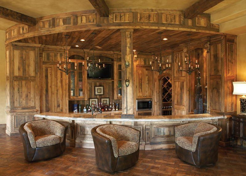 Interior Design Rustic Home Bar Made From Wood Material With Unique Seating Fantastic Ideas In Modern Style