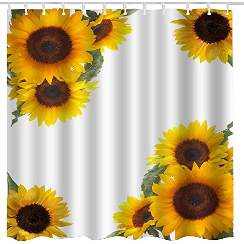Broshan Yellow Shower Curtain Sunflower Decor Summer Garden