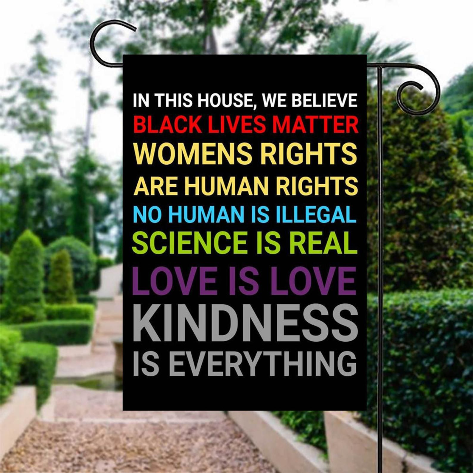 """Garden Flag Double Sided 12/""""x18/"""" House We Believe Black Lives Science Human BLM"""