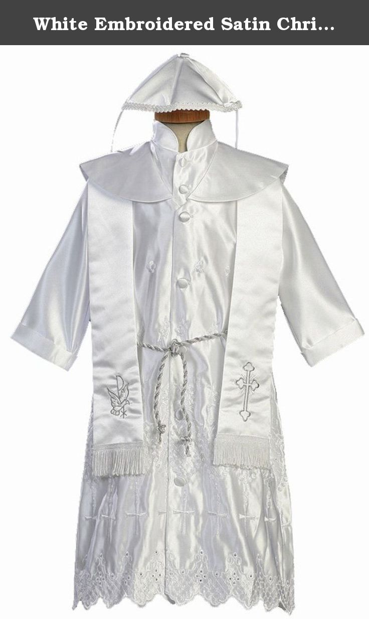 White embroidered satin christening baptism robe with shawl and cap