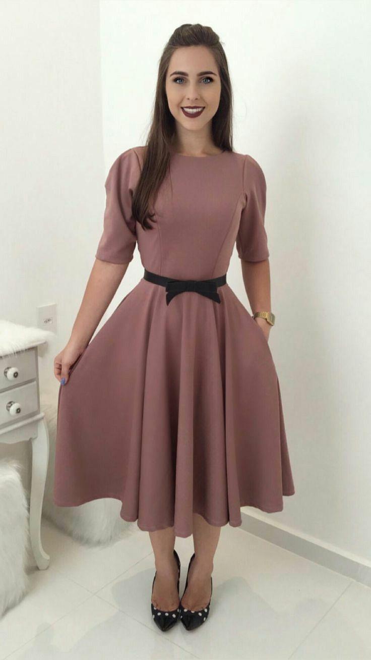 Vestido rose com colo de renda | Lindos vestidos casuais