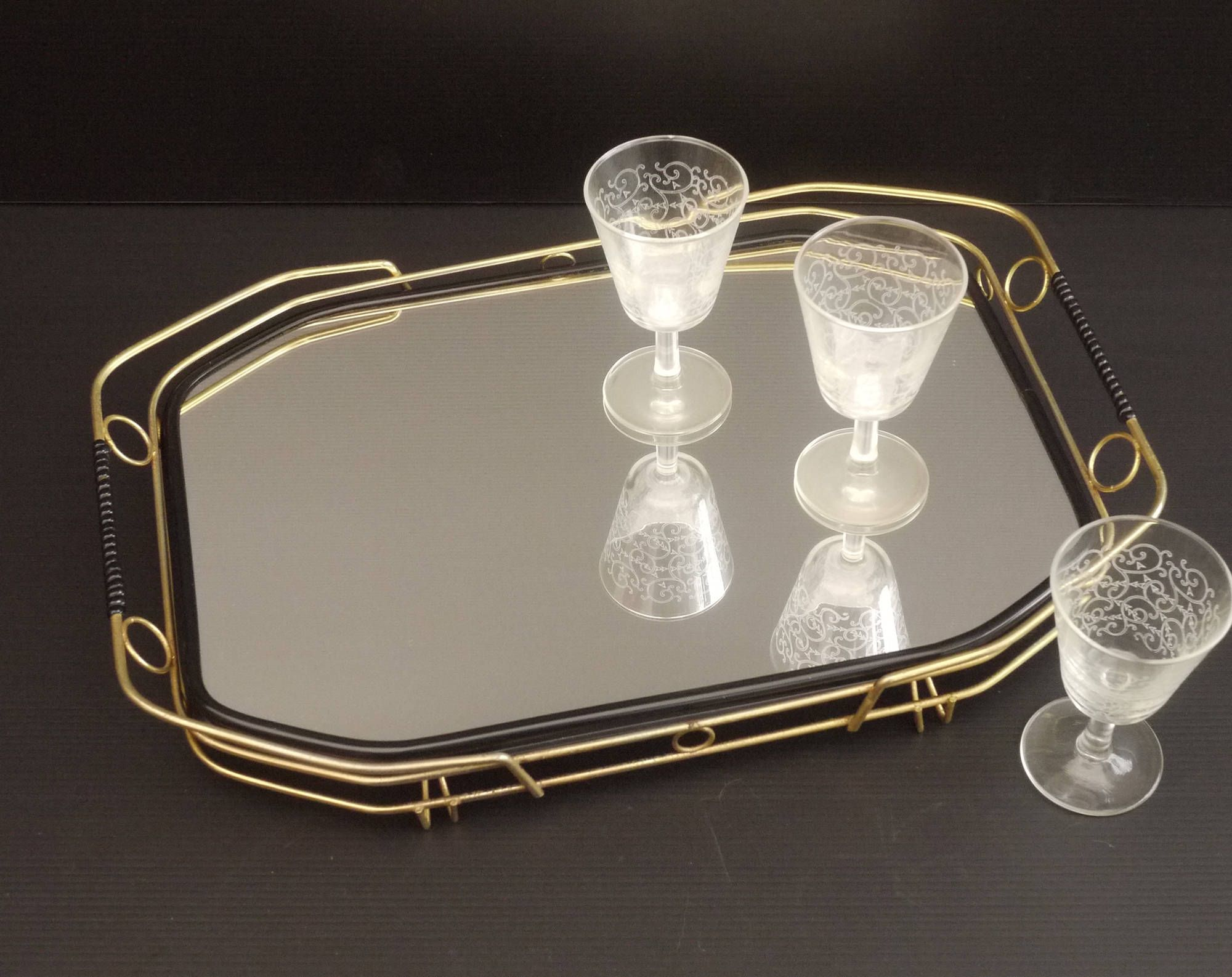 Mid Century Modern French Mirrored Serving Tray, Gold And Black Mirrored  Tabletop Tray, Cocktail