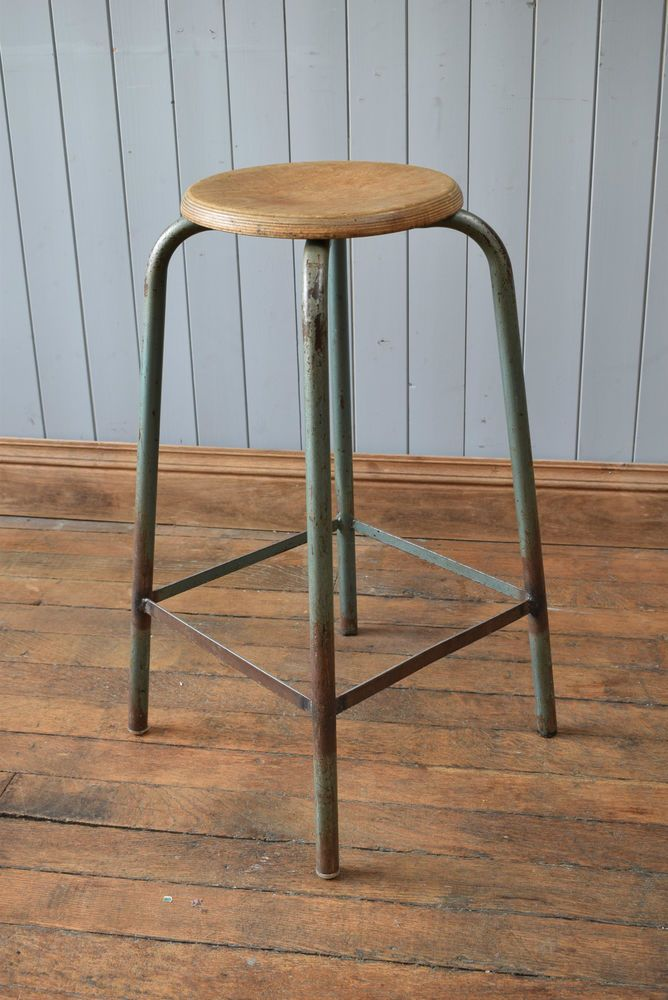 vintage stool tall wooden tubular metal industrial kitchen bar