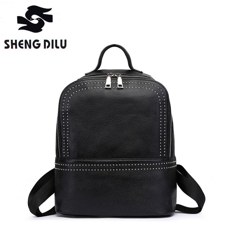 195ef38c60 Cow mochila shengdilu brand 100% genuine leather Backpack 2017 new women  shoulder bag Fashion rivets
