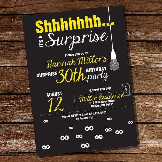 Surprise Party Birthday Invitation