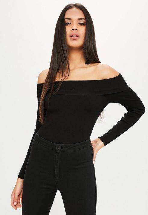Black Bardot Turnback Knitted Bodysuit fd1213398c9