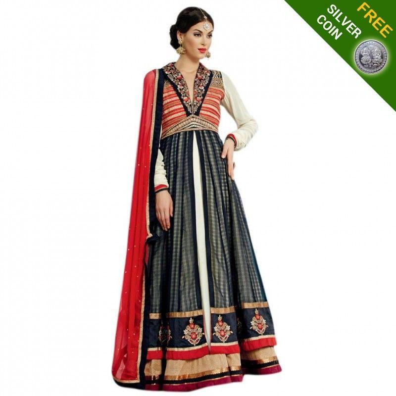 Get a Silver Coin free with Triveni Mesmerizing Black Colored Banarasi Silk Anarkali http://goo.gl/U01G65