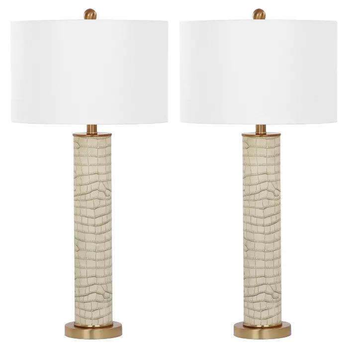 Ollie Dark Green Faux Alligator Table Lamp Set Of 2 Safavieh Target Table Lamp Sets Table Lamp Lamp