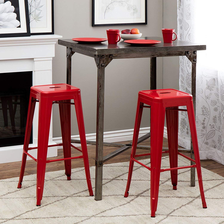 High Quality Tabouret 30 Inch Red Metal Bar Stools Set Of 2 Bar Chair Red Metal Bar Stools Bar Stools Bar Furniture