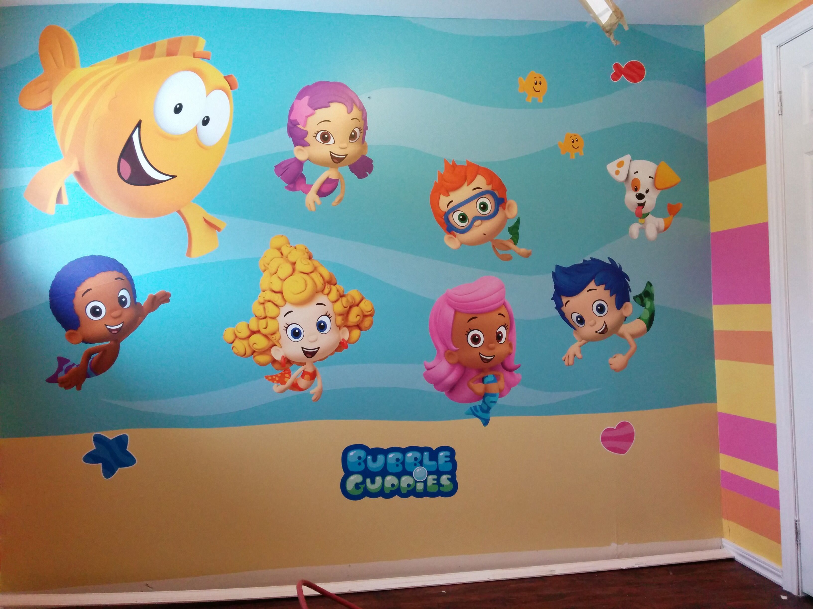 Bubble Guppies Mural Painted Background And Wall Decals Paint Background Wall Decals Mural Bubble guppies bedroom decor