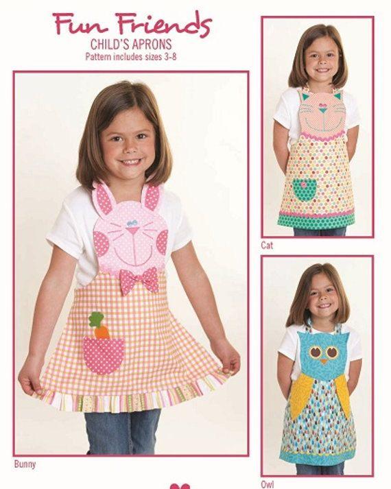 handmade Owl child/'s apron toddler apron owl apron