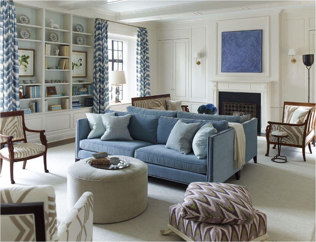 twin blue velvet sofas