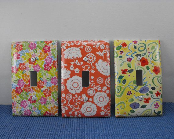 Light Switch Plate Cover ~ Bright Florals ~ by Blissmade Designs #switchplate #flowers #decor #tropical