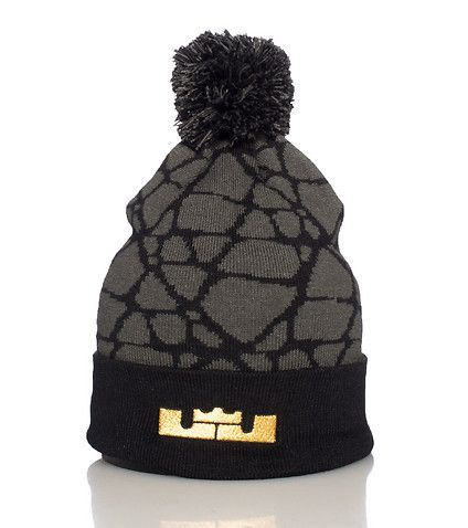 NIKE Lebron James Winter beanie Pom pom detail on top LJ crown logo on roll  up brim Soft stretch fabric for comfort fc9e00241fb