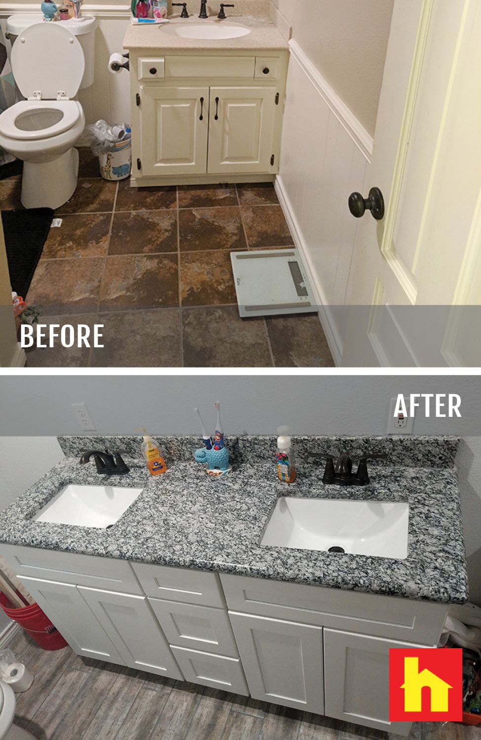 Before and after #bathroom remodel by Jeromy B. of Tyler ...