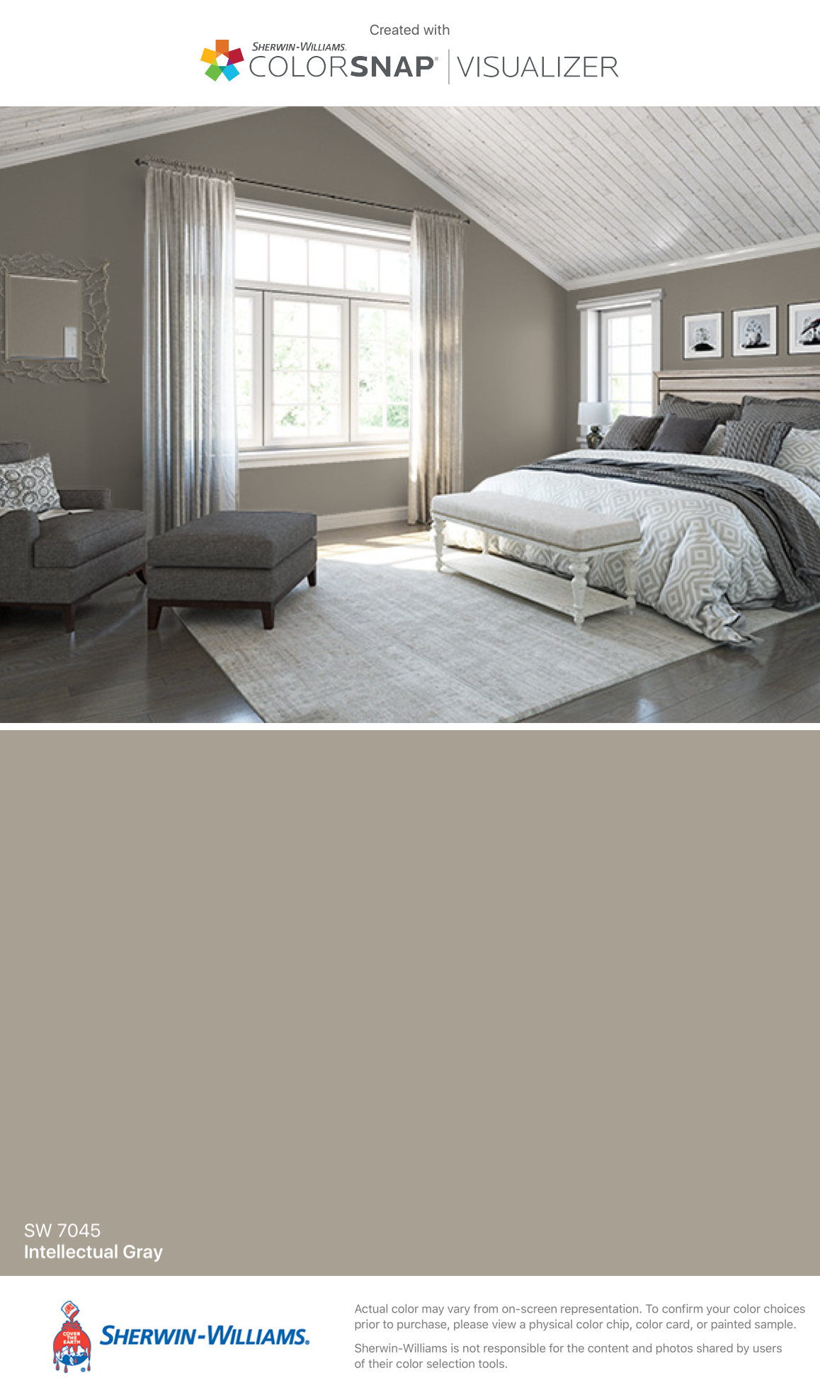 I found this color with colorsnap visualizer for iphone by sherwin williams intellectual gray sw 7045