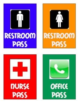 graphic about Printable Hall Passes called Corridor Pes for the Fundamental Clroom College or university Restroom