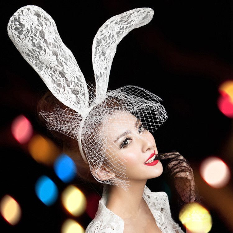 57de661ab9c Acessorio Para Cabelo Fascinator Women Girl Hair Band Lace Sexy Rabbit  Bunny Ears Veil Party Headwear Hair Accessories