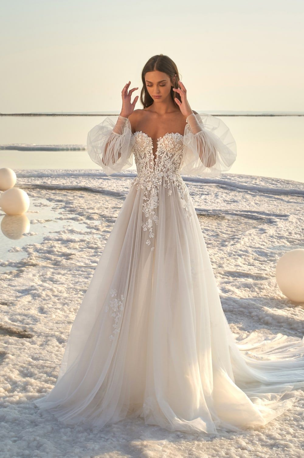 Lee Petra Grebenau Bridal Gown with Sleeves #weddingdresses