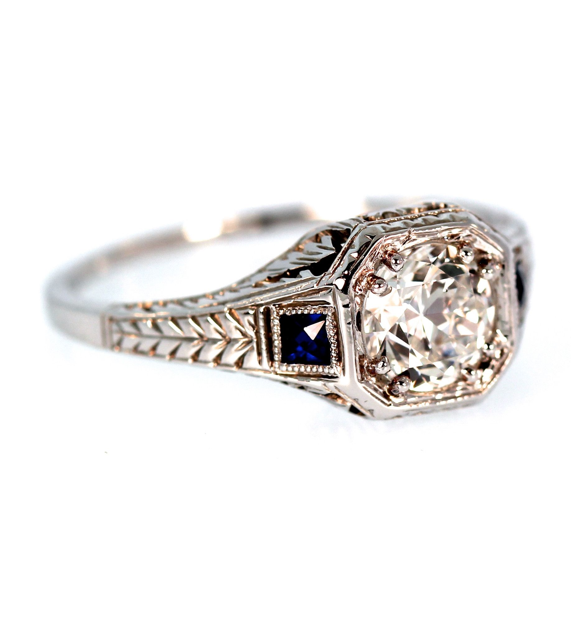 Art Deco Diamond Sapphire Ring Art Deco Diamond Sapphire Ring Art Deco Sapphire Ring Art Deco Diamond