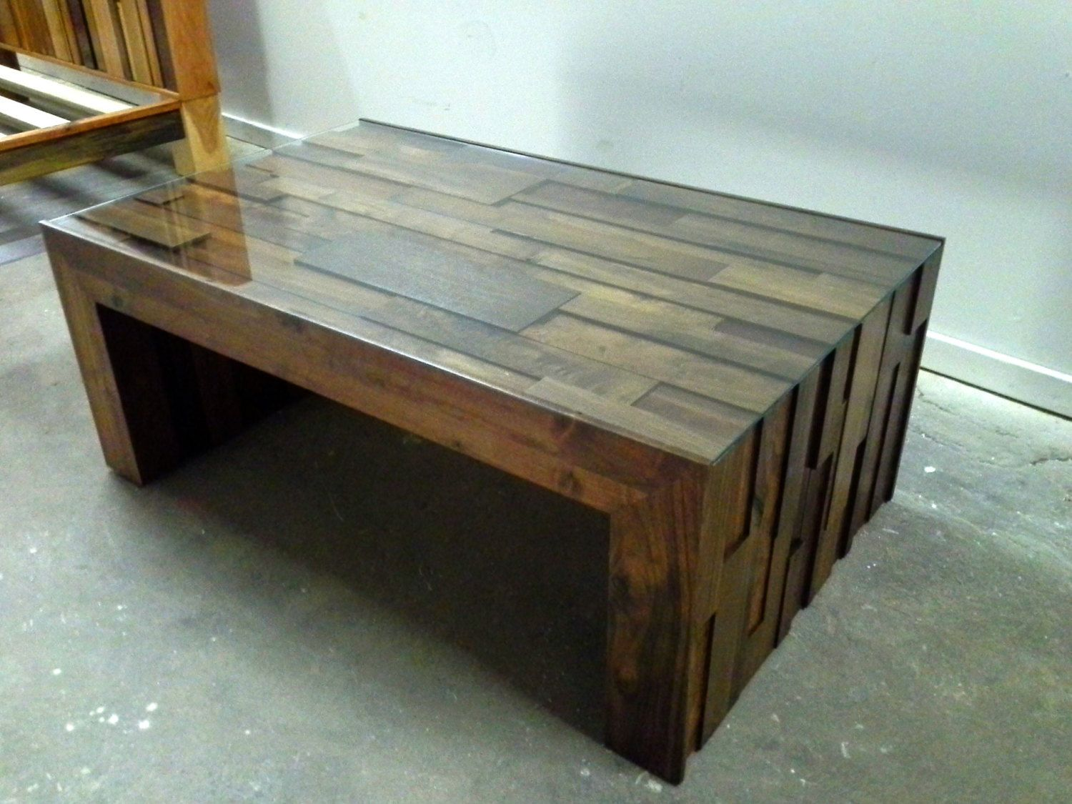 Coffee Table Walnut Reclaimed Stacked Wood With Gl Top Modern Rustic 1 200 00