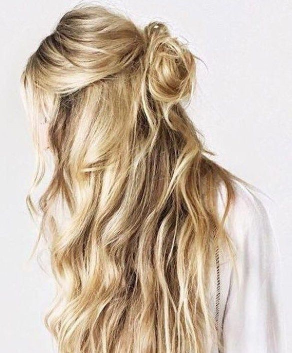 Half up top knot hairstyle