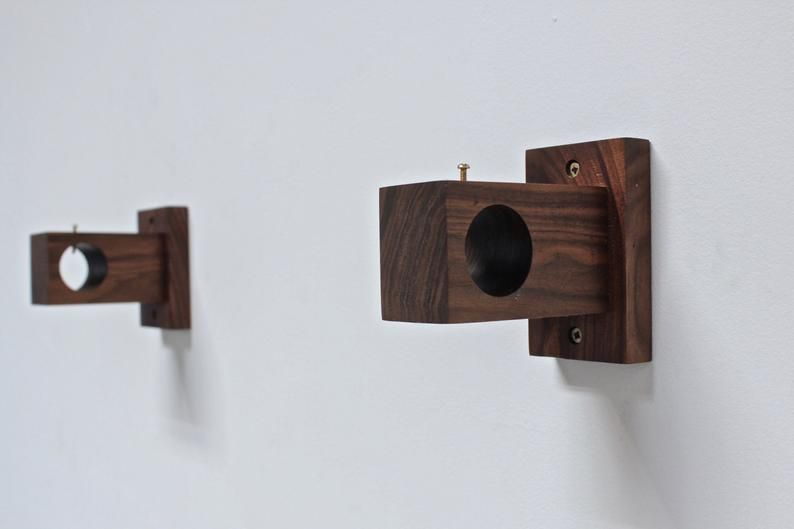 Curtain Rod Holder Curtain Rod Bracket Modern Wood Curtain Etsy