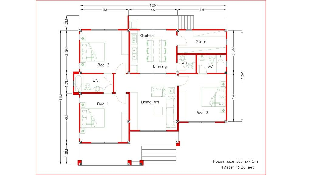 Interior Design Plan 12x11m With Full Plan 3beds Architecture