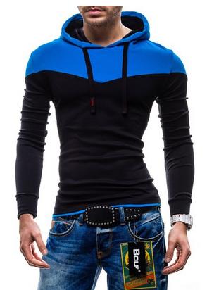 BOLF Herren Kapuzenpullover Sweatshirt Hoodie Kapuze Pullover 35/36/37 MIX (blue/black)