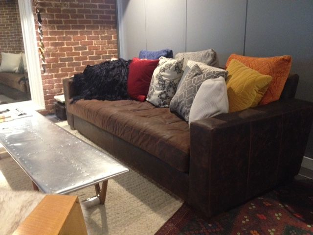 COCOCO, Leather Modern Monroe Sofa. Back Cushion Removed And Replaced With  Various Throw Pillows