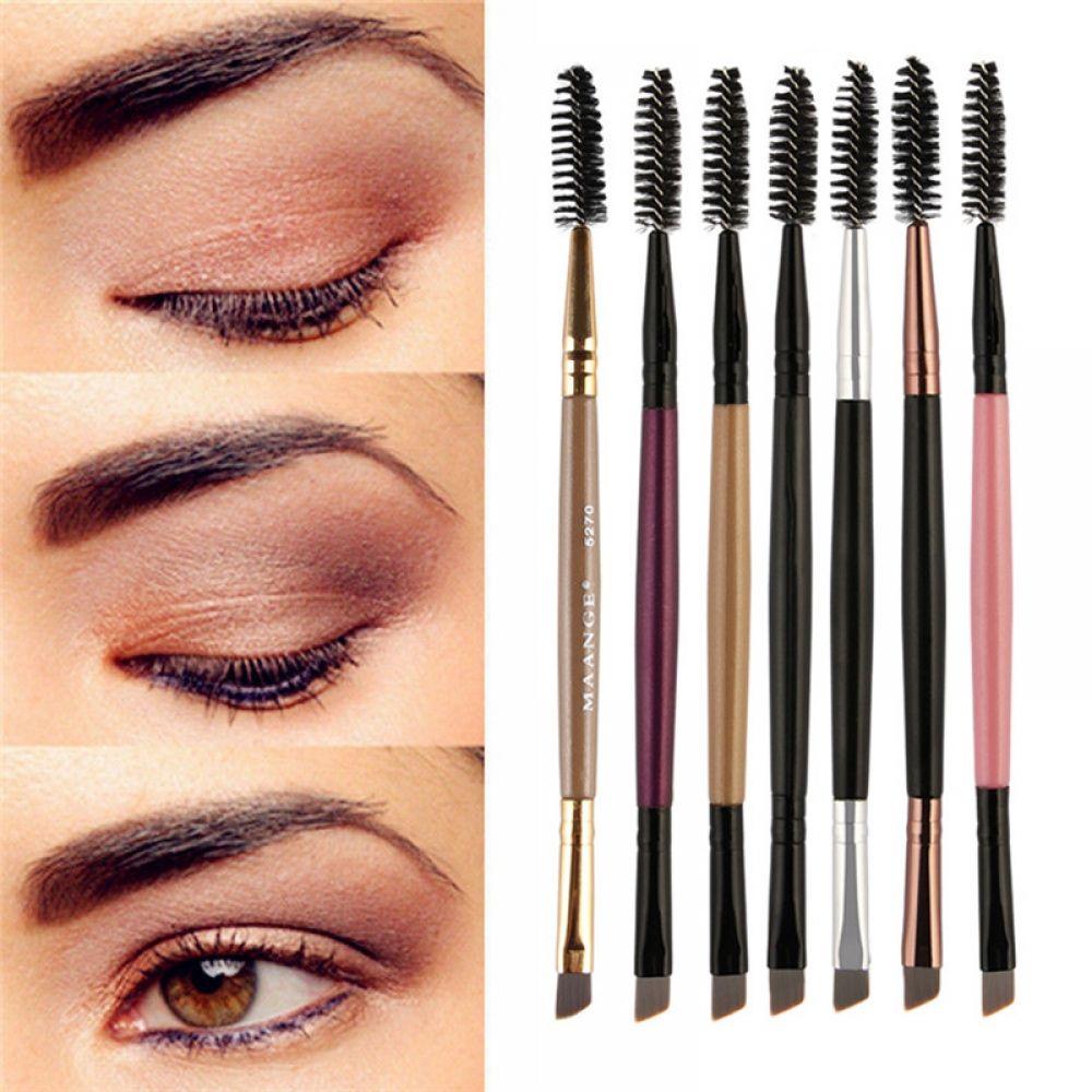 EyeBrow Makeup Brush Wood Handle Double Sided Eyebrow Flat