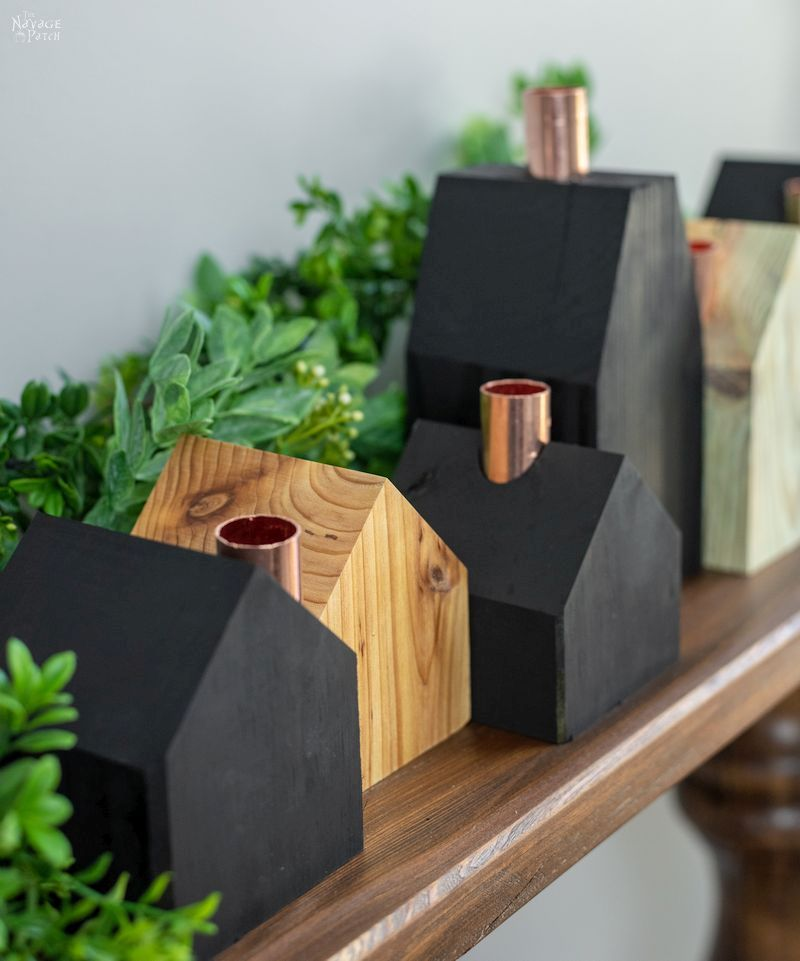 Photo of DIY Wood House Candle Holders