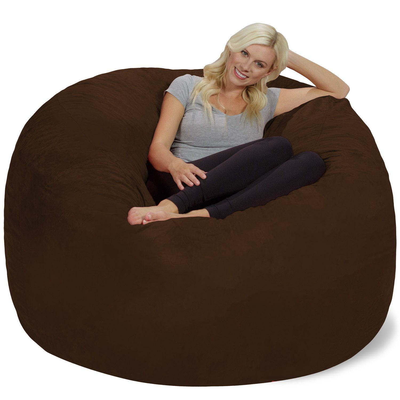 Chill Sack Bean Bag Chair Giant 6 Memory Foam Furniture Bean Bag Big Sofa With Soft Micro Fiber Cover Chocola Bean Bag Chair Large Bean Bag Chairs Big Sofas