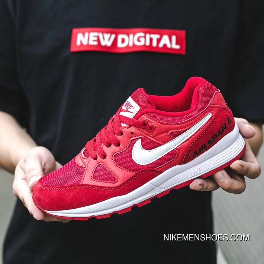new style 37f2b 151ff New Nike Air Span II Air Cushion Unisex Sports Casual Shoes Red White 2018  Discount