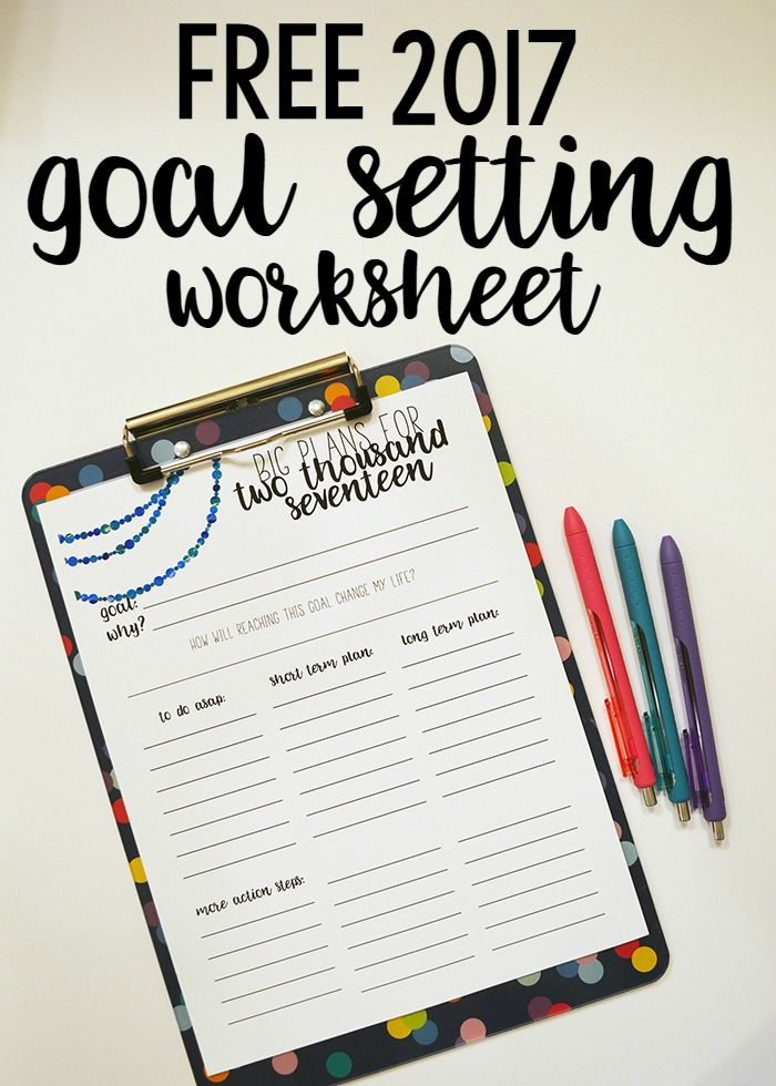 Free  Goal Setting Worksheet Printable  Goal Setting