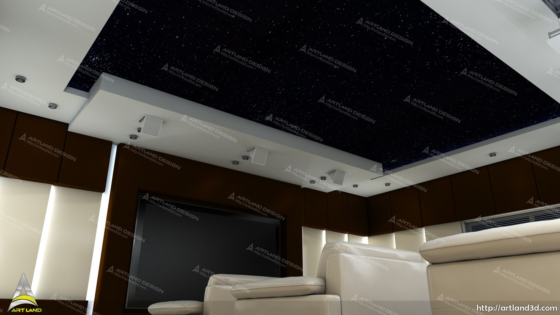 Ceiling 3d Modeling Home Theater 3d Realistic Visualization