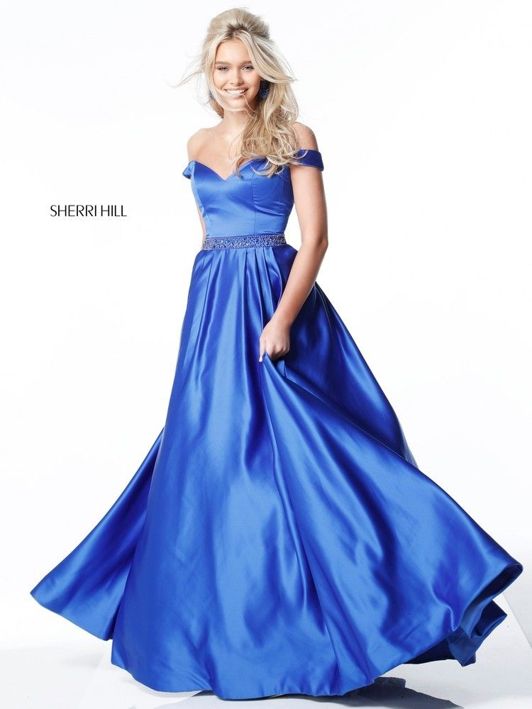 80144b3758a You were born to reign in Sherri Hill 51124. This royal satin ball gown has  a fitted bodice