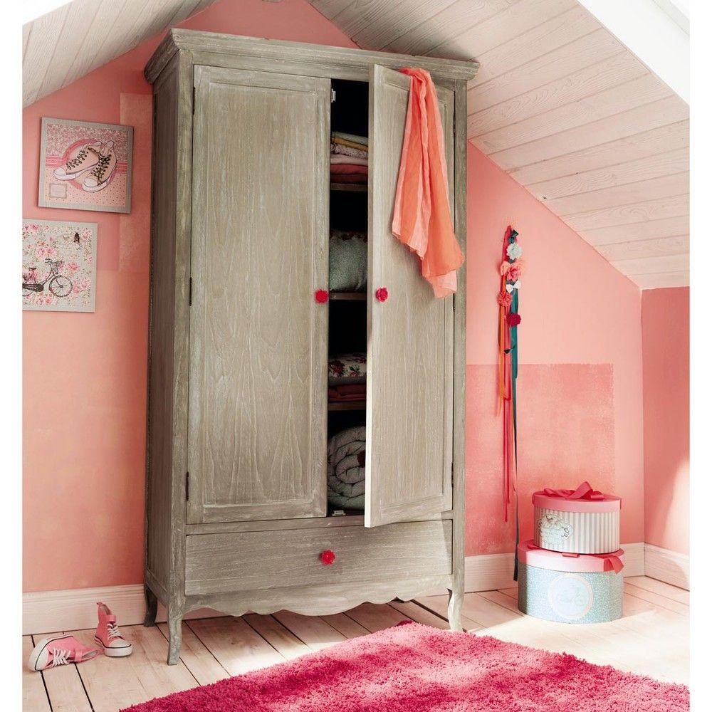 Kleiderschrank aus Holz, B ... - Angelique | Kinderzimmer | Pinterest