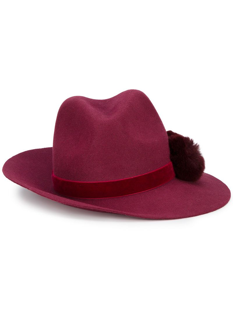 Wear Resistance Valentina pom pom fedora hat - Red Yosuzi Purchase Online 2018 New For Sale c2Zcyu