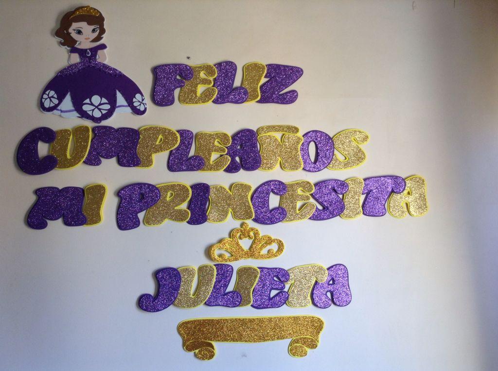 Cartel de feliz cumpleanos de la princesa sofia