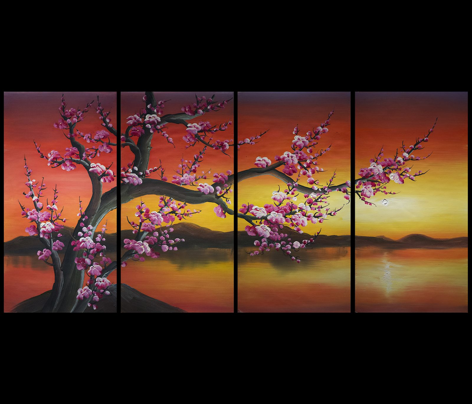 Wall Art Decor Feng Shui Painting Chinese Cherry Blossom Painting Cherry Blossom Painting Chinese Cherry Blossom Feng Shui Paintings
