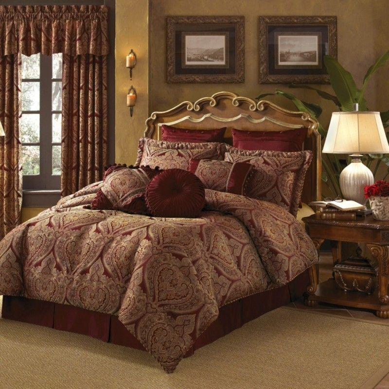 Best New Castle Croscill Burgundy Gold Paisley Queen Comforter 400 x 300