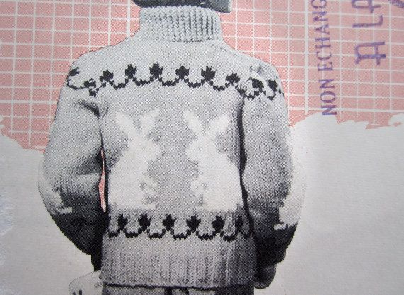 Knitting Pattern For Childs Chunky Cardigan : BUNNY RABBIT SWEATER Knitting Pattern - 1957 Vintage Mary Maxim Graph Style 4...