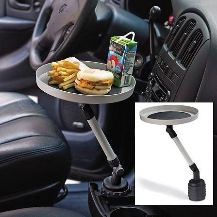 Car Cup Holder Table  Shut Up And Take My Money is part of information-technology - Car Cup Holder Table   It's not fair that your car only provides a place for your drink, wouldn't it be nice if there was a place for the rest