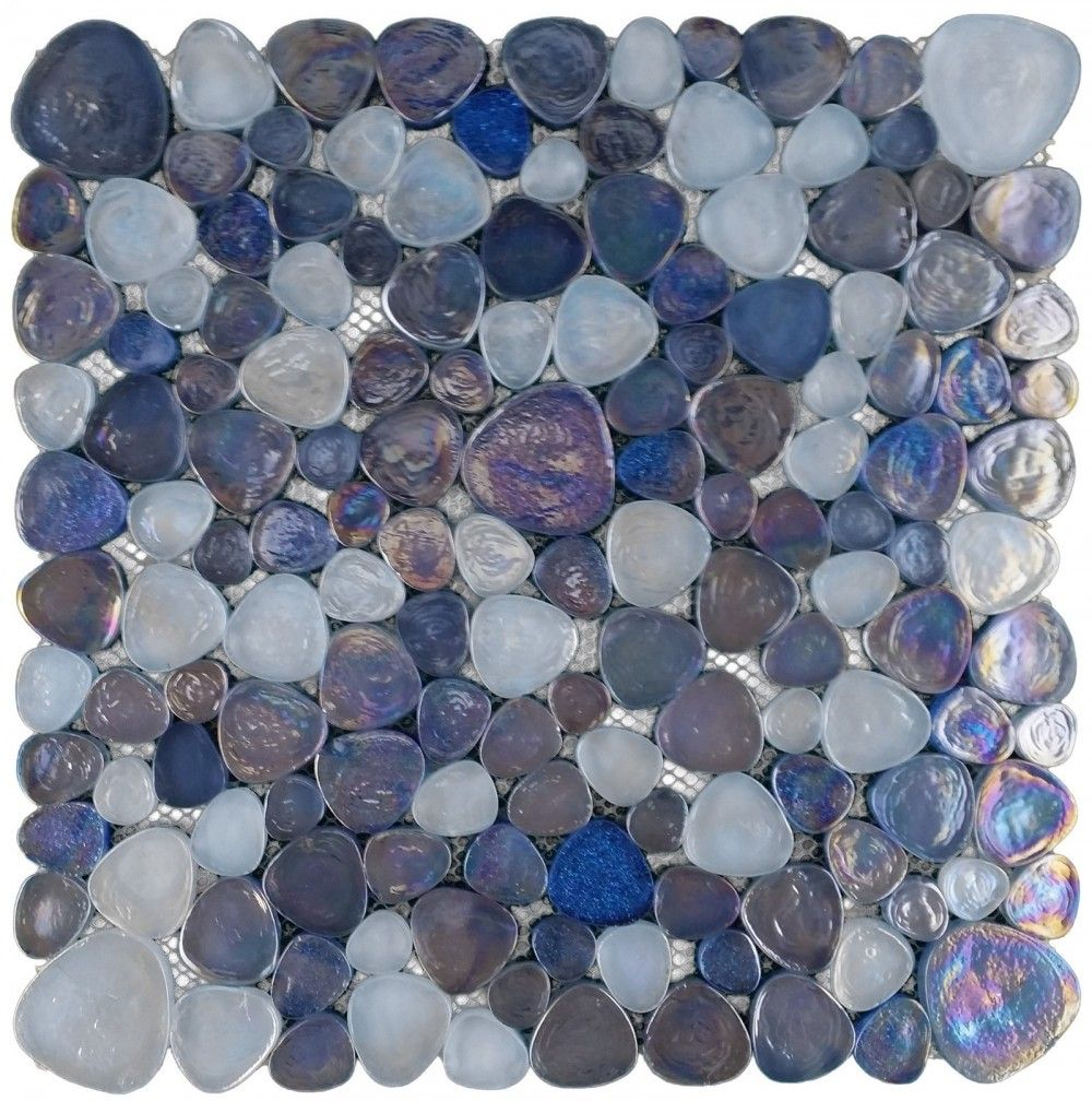 Hammered Blue Glass Pebble Mosaic