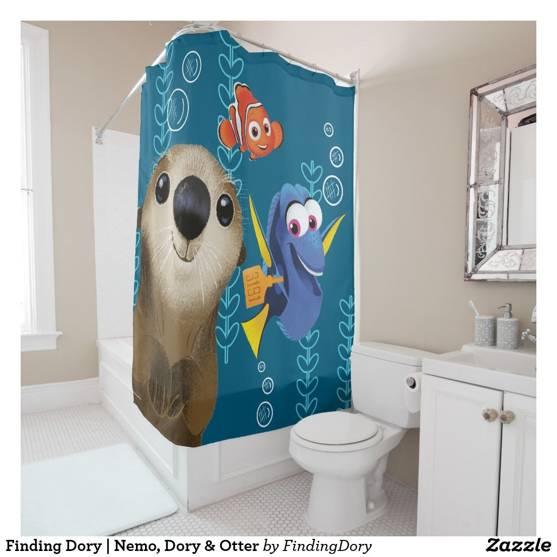 Finding Dory Nemo Dory Otter Shower Curtain Zazzle Com Kids Bathroom Accessories Teal Bathroom Decor Striped Shower Curtains