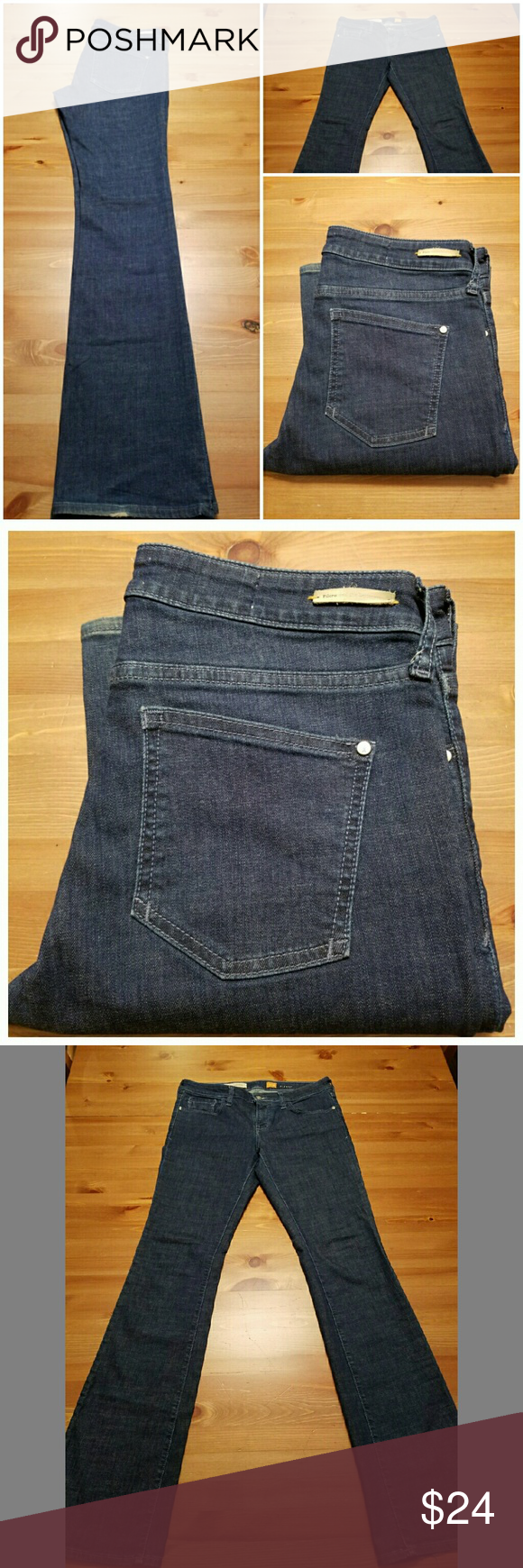 """Anthropologie Pilcro and the Letterpress Stet 28 Excellent pair of Pilcro and the Letterpress Stet fit jeans in size 28. Perfect jeans for girls with long legs! Dark rinse, exceptional condition with very minor wear oh hems. Straight leg bootcut jeans with a mid-higer rise. 41.5"""" length, 33.5"""" inseam, 15"""" across waist, 9"""" rise. Anthropologie Jeans Boot Cut"""