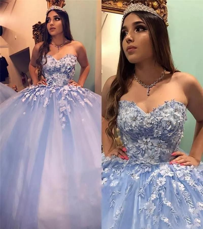 Prom Dresses New Blue Quinceanera Dresses Ball Gown Sweetheart Lace Appliques Crystal Beaded 3D Floral Flowers Sweet 16 Party Prom Dress Evening Gowns