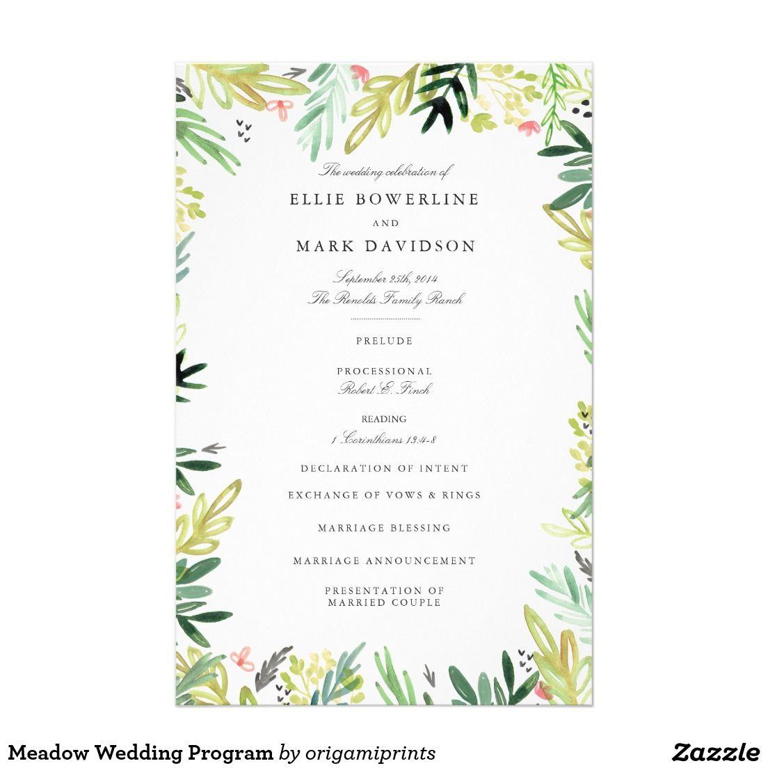 meadow wedding program wedding invitations favors and more